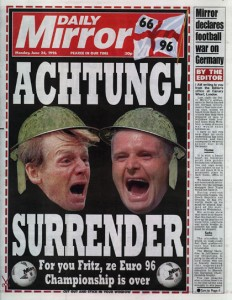 The Daily Mirror declares a footballing war on Germany. Lame.